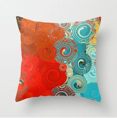Decorative Throw Pillow Turquoise and Red Swirls  by BonnieBruno, $35.00