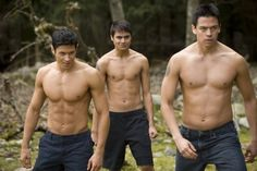 Paul Lahote, Embry Call and Sam Uley from the Wolf Pack in The Twilight Saga: New Moon