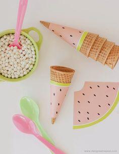 Tags de melancia para casquinha de sorvete - para imprimir - Dicas pra Mamãe