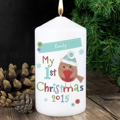 Personalise this Felt Stitch Robin 'My 1st Christmas' Candle with a name up to 12 characters.  #ChristmasGifts