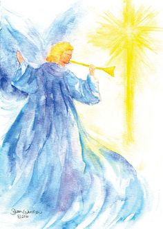 Angel Star Watercolor Christmas Card Set by SusanWindsor on Etsy, $22.00