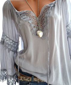 Plus Size Womens Off Shoulder Tops Boho Solid Ladies Sexy Lace Long Sleeves Blouse Loose Tops blusas mujer de moda 2019 Mode Hippie, Hippie Look, Look Boho, Mode Outfits, Casual Outfits, Cheap Womens Tops, Boho Fashion, Womens Fashion, Italy Fashion