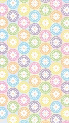 Phone wallpaper, background. 'multi pastel circles with flower and dots' (2)