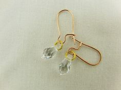 Clear Crystal Drop Bead Earrings with Rose Gold by OswestryJewels