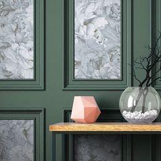 Décor Paeonia monochrome, lé d Wall Molding, Colorful Interiors, Wall Decor, Hall Decor, Classic Interior Design, Interior Design, Monochrome Interior, Wall Design, Living Room Designs