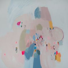 White abstract painting with blue and pink. by LolaDonoghue