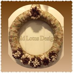 "Gorgeous Ribbon Wreath with Handmade Felt Flowers, 18"" - Gold Lotus Designs ** Custom Handmade Crafts by Kim Lynn ** www.facebook.com/GoldLotusDesigns"