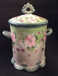 Antique c.1910 Nippon Porcelain Condensed Milk Can Holder Pink Roses ~Unmarked