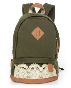 army green with lace backpack