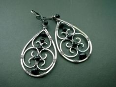 Camelot wire wrapped earrings  sterling silver and black onyx