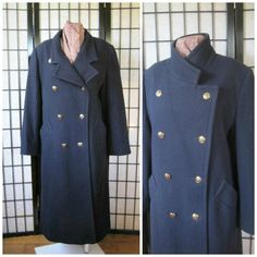 Men Long Pea Coat Wool Cashmere Vintage Navy blue Double breasted BOkn40NWl