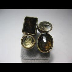 bague en citrine et quartz fumé