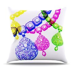 Kess InHouse Sreetama Ray Precious Jewelry Indoor / Outdoor Throw Pillow, White