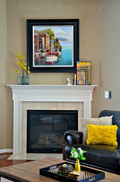Add Spring color to your home by shopping your house. Simple Spring Mantel & Spring Home Tour  http://whatsurhomestory.com/