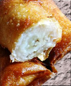 Chinese Banana Spring Rolls. Bananas rolled in spring roll pastry and deep fried. Very easy to make, and delicious with ice cream.
