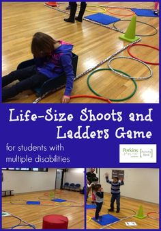 """Adapted from the popular table-top board game """"Shoots and Ladders"""", this game is played in an open gym space and can be played by students of all ages and abilities. It is designed to allow students to practice appropriate social skills, turn taking, numeracy skills, fitness skills and following rules. The game can be made more difficult depending on the ability level of the students playing. *Pinned by Perkins.org"""