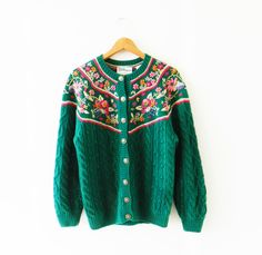 Boho Vintage Floral Cable Knit Cardigan / Forest Green Knit Sweater / Floral Embroidered Cardigan by thehappyforest on Etsy