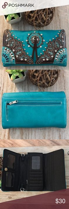 Western Style Turquoise Concho Purse Clutch Wallet Cute new wallet.   Comes with a wrist strap and a shoulder strap.   Fits a large phone inside plus cards, coin pouch, etc Boutique Bags Wallets