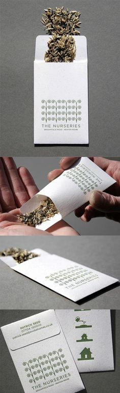 Clever Letterpress Printed Seed Packet Business Card Concept Flower seeds, vegetable seeds