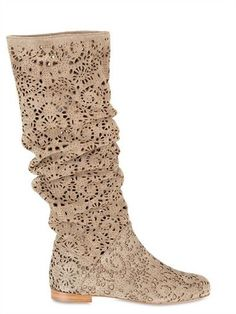 Peter Flowers Laser Cut Velour Pull On Boots Spring Summer 2011 Women Shoes Boots