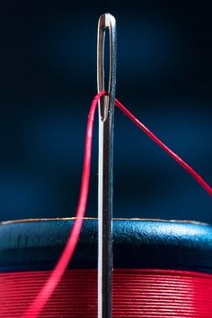 Needle and thread Love Blue, Red White Blue, Green And Grey, Navy And White, Color Photography, Macro Photography, Navy Color, Red Color, Red Cottage