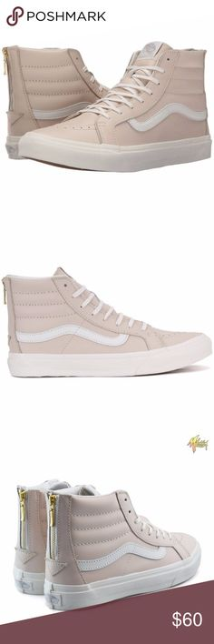 Vans SK8-Hi Slim Zip Leather Sneakers, 8.5 New with tags - does not come with original box Color: Whispering Pink / Blanc de Blanc  The Leather Sk8-Hi Slim Zip combines a slimmed down version of the legendary lace-up high top with a zipper entry at the heel, leather uppers, signature rubber waffle outsoles, and padded collars for support and flexibility. Vans Shoes Sneakers