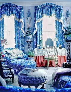 When decorating a bedroom for the 1984 Kips Bay Decorator Show House, Mario Buatta deployed one of the 20th century's best-known patterns—an airy floral that is known in America as Verrieres (Brunschwig & Fils) or in Europe as Batik (Georges Le Manach). Decorator Henri Samuel put the fabric on the international style map in the 1950s, when he used it in the Salon Bleu of writer Louise de Vilmorin's family seat, Château de Vilmorin, in Verrières-le-Buisson, France.