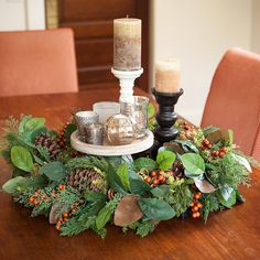 Wreaths aren't just for doors! Use this gorgeous Holiday Elegance Wreath to make a beautiful centerpiece this holiday season! Exclusively on Amazon! #pineandpaintonamazon #thanksgiving #Christmas #gatheringspaces #autumnspaces