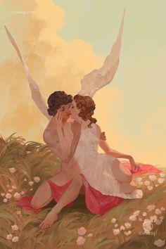 ArtStation - cupid and psyche, aw anqi Lesbian Art, Gay Art, Art And Illustration, Pretty Art, Cute Art, Arte Inspo, Art Sketches, Art Drawings, Art Anime