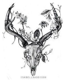 The Best Painting Result For The Hands Of Deer Skull Illustration - # Tattoo Ideas . Tattoo Sketches, Tattoo Drawings, Body Art Tattoos, Sleeve Tattoos, Tatoos, Skull Drawings, Hip Tattoos, Deer Skull Tattoos, Deer Skulls