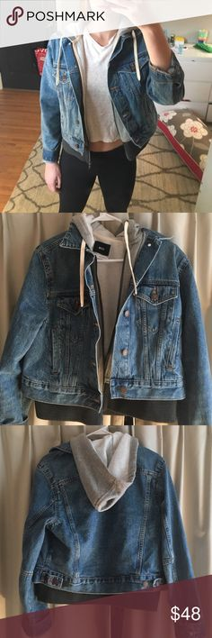 Jean jacket with built in hoodie From Urban! I think it's really cute, I just don't wear it often.  I've worn it twice.  Price negotiable :) BDG Jackets & Coats Jean Jackets