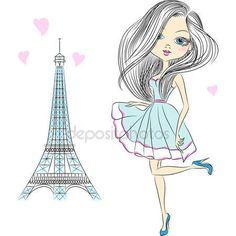 Descargar - Vector chica hermosa moda en París — Ilustración de Stock #49317885