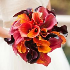 An assortment of calla lilies in earthy hues is the perfect accessory for an autumn brides walk down the aisle. Photo by Becky Hill Photography Floral by @hmrdesigns #bouquet #weddingbouquet #weddingflowers #flowers #beautiful #callalily #fallwedding #floraldesign via @angela4design