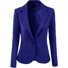 LE3NO Womens Slim Fit Single Button Tailored Boyfriend Blazer Suit... ($29) ❤ liked on Polyvore featuring outerwear, jackets, blazers, boyfriend blazer, slim fit blazer, blue jackets, blue blazer and slim jacket