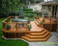 Stain on a deck will just persist for a few decades. Patio decks are normally made of wood and wood pallets. The deck has turned into a revered outdoor space of the contemporary American home. If your deck is made… Continue Reading → Two Level Deck, 2 Level Deck Ideas, Back Deck Ideas, Deck Layout Ideas, Unique Deck Ideas, 2 Tier Deck Ideas, Outdoor Ideas, Small Deck Ideas On A Budget, Backyard Deck Ideas On A Budget