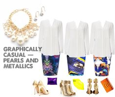 graphically casual | pearls and metallics