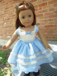 "18"" Doll Clothes 1950's--1960's Fashion Blue Gingham Summer Dress Fits American Girl Molly, Emily, Kit"