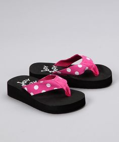Look at this Itzy Bitzy Pink & White Polka Dot Flip-Flop on #zulily today!