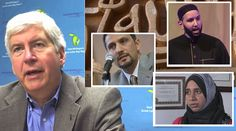 Mich. Gov. Snyder is getting an up-close look at the extremism of the Islamic Society of North America, an group that purports to be moderate. Clockwise: Michigan Governor Rick Snyder, Hatem Bazian,Omar Suleiman and Zahra Billoo. She is the sweet thing that tweeted last Memorial Day questioning whether Muslims should honor fallen U.S. soldiers who die in wars they disagree with.