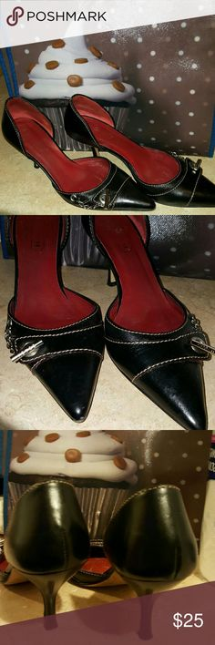 Black Coach heels! Top accentuated with silver chain design, black, great condition. Coach Shoes Heels