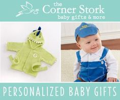 The Corner Stork baby gifts & more Personalized Baby Gifts Great awesome baby shower gifts {affiliate link}