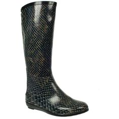 Snake Effect Zip Trim Wellington Boot ($32) ❤ liked on Polyvore