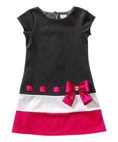 Youngland Black & Pink Bow Drop-Waist Dress - Toddler by YounglandA bow-adorned drop waist and a color block design give this dress a retro-inspired look. A keyhole closure in back offers a polished fit for its soft and stretchy form. Frocks For Girls, Little Girl Dresses, Girls Dresses, Frock Patterns, Girl Dress Patterns, Mode Batik, Baby Dress Design, Baby Sewing, Toddler Dress