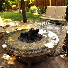 """For the patio area...45"""" Round Cocktail Fire Pit"""