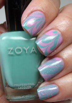 Water Marble with Zoya Nail Polish in Wednesday and Shelby $9
