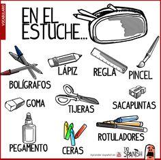 ¿qué poner dentro del estuche  - Vocabulario español del material escolar