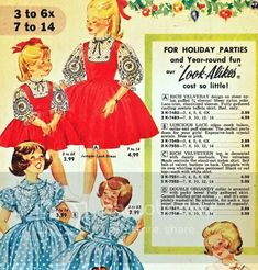 In this 1960 Florida Fashions catalog there are lots of suggestions for the kids. Mom was responsible for making them look picture perfect a... Vintage Kids Clothes, Vintage Children, Taffeta Skirt, Florida Fashion, Fashion Catalogue, Kids Wear, Holiday Parties, Lace Trim, Mom