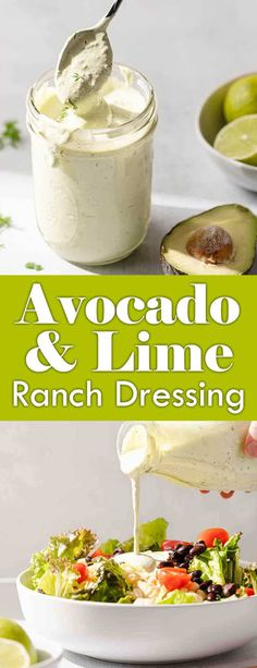 This homemade ranch dressing is extra-special thanks to the addition of avocado and lime. This zesty dressing comes together in only about 10 minutes, and goes great on salad, as a dip for veggies, or drizzled over fish. Vegetarian Meals For Kids, Vegetarian Recipes, Healthy Recipes, Healthy Salads, Salad Dressing Recipes, Salad Dressings, Salad Recipes, Jam Recipes, Homemade Ranch Dressing