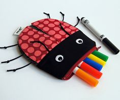 Ladybug Zipper Pouch by MinneBites / Pink Spotted by minnebites