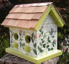 Pink Roses Hand Painted Bird House by catherineklassen on Etsy, $42.00